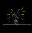 continuous one line light bulb on black background vector image vector image