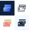 credit card stock icon set concept mobile vector image vector image