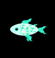 cute cartoon fish on dark background vector image vector image