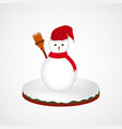 cute snowman character in red scarf vector image