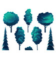deciduous and coniferous trees isolated on white vector image vector image