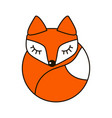 fox cute art sign in curve lines vector image vector image