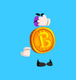 funny bitcoin character closed eyes with its hand vector image vector image