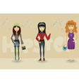 Funny cartoon hipster character shopping business vector image