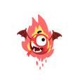 funny fire winged monster colorful fabulous vector image vector image