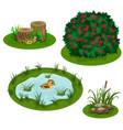 garden landscape set for summer forest or vector image