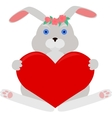 gray rabbit with red heart vector image vector image