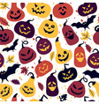 halloween holiday with different pumpkins vector image
