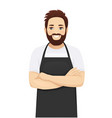 handsome man in apron vector image vector image