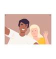 happy young people making selfie using smartphone vector image vector image
