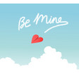 heart paper airplane skywriting be mine vector image vector image