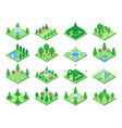 isometric green park or garden trees fountain and vector image