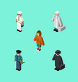 isometric person set of detective lady officer vector image vector image