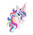magic unicorn with colorful horn and manes icon vector image vector image