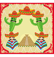 mexican frame with pyramid cactus and sombrero vector image
