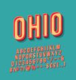 ohio vintage 3d lettering retro bold font vector image