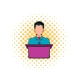 Orator speaking from tribune icon comics style vector image vector image