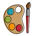 paint pallette with brush vector image vector image