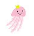 pink cartoon jellyfish vector image vector image
