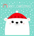 polar white bear cub face red hat happy new year vector image vector image