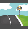 road scene with stop bus signal vector image