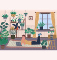 room interior greenhouse with plants in pots vector image vector image