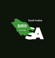 saudi arabia initial letter country with map and vector image vector image