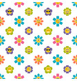 seamless pattern with colorful flowers with faces vector image