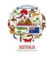 set australia culture symbols collection icons vector image