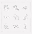set of clothing icons line style symbols with cat vector image