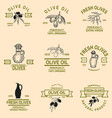 set of olive oil emblems design element for logo vector image