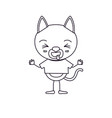 sketch silhouette caricature of cute cat sticking vector image