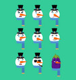 snowman set emotion avatar sad and angry face vector image