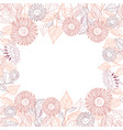 square frame of sunflowers line drawing on white vector image vector image