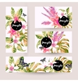 summer set cards with tropical green leaves vector image vector image