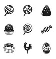 sweet candy icon set simple style vector image vector image