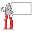 thumbs up with board pliers character cartoon vector image