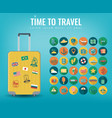 travel icons set travel and tourism concept flat vector image vector image
