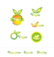 Vegan logo badge icon set vector image vector image