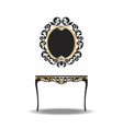 Vintage Baroque Furniture Table and Mirror vector image vector image