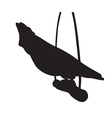 Parrot sits on a wooden pole silhouettes vector image
