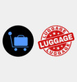 baggage cart icon and scratched luggage vector image vector image