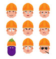 builder set emotion avatar sad and angry face vector image vector image
