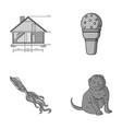 building animal and other monochrome icon in vector image vector image