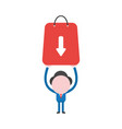 businessman character holding up shopping bag vector image