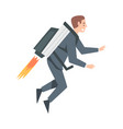 businessman flying with jetpack leadership vector image vector image