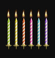 cake candles set on black vector image vector image