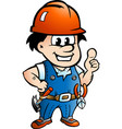 cartoon of a happy construction worker or handyman vector image