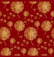 china red and gold geometric dandelion flowers vector image vector image