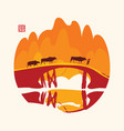 chinese mountain landscape with cows on bridge vector image